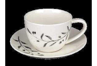 Puodukas su lėkštute porcelianinis