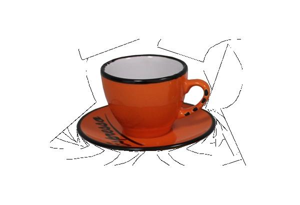 Puodelis su lėkštute Espresso oranž