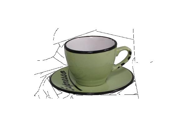 Puodelis su lėkštute Espresso žalias