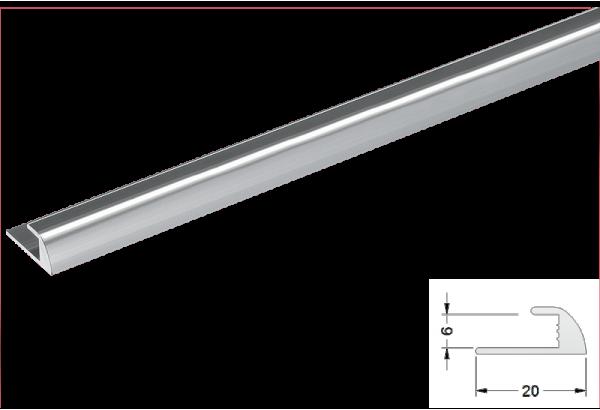 Užbaigimo profilis aliuminis 6mm 270cm